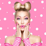 Beauty Model Girl With Bow Hairstyle Stock Photo