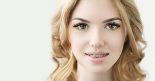 Beauty Model with  Perfect Fresh Skin, Long Eyelashes and Teeth Royalty Free Stock Image
