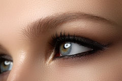 Beauty Model with Perfect Fresh Skin and Long Eyelashes. Youth a. Nd Skin Care Concept. Spa and Wellness. Make up and Hair. Lashes. Close up, selected focus Stock Images