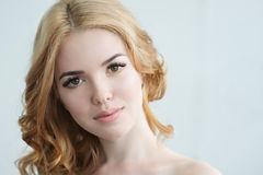 Beauty Model with  Perfect Fresh Skin and Long Eyelashes. Royalty Free Stock Photo