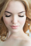 Beauty Model with  Perfect Fresh Skin and Long Eyelashes. Stock Photos