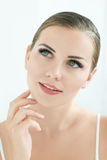 Beauty Model with  Perfect Fresh Skin and Long Eyelashes. Royalty Free Stock Image