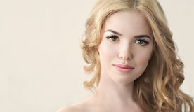 Beauty Model with  Perfect Fresh Skin and Long Eyelashes. Royalty Free Stock Photography