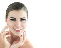 Beauty Model with  Perfect Fresh Skin and Long Eyelashes. Stock Images