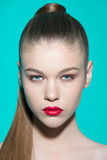 Beauty model portrait woman with fresh makeup and Stock Photography