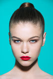 Beauty model portrait woman with fresh makeup and Royalty Free Stock Image