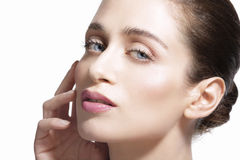Beauty model showing clean fresh healthy skin. On white Royalty Free Stock Photography