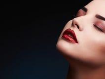 Beauty Model Woman.Beautiful Gorgeous Glamour Lady Portrait.Sexy Lips. Beauty Red Lips Makeup Stock Photo