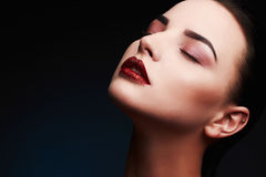 Beauty Model Woman.Beautiful Gorgeous Glamour Lady Portrait.Sexy Lips. Beauty Red Lips Makeup