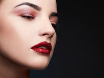Beauty Model Woman.Beautiful Professional Makeup. Red Lips