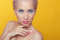 Beauty model woman portrait. Makeup. Attractive young female iso Royalty Free Stock Photography