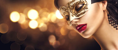 Free Beauty Model Woman Wearing Venetian Masquerade Carnival Mask At Party Stock Photography - 81350492