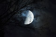 Beauty of the Moon in a dark night. Stock Photo