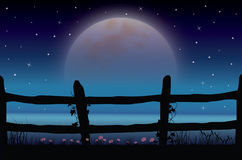 The Beauty of the Moon in Nature , Vector illustrations landscape Stock Photos