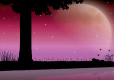 The Beauty of the Moon in Nature , Vector illustrations landscape Royalty Free Stock Photo