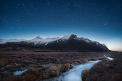Beauty mountain with creeks at night,Eystrahorn Iceland. Stock Images