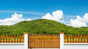 Beauty mountain hill with fence on daylight Royalty Free Stock Photo