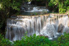 Beauty of multiple stream waterfall in tropical deep forest Stock Photos