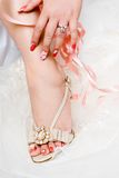 Beauty nail. Of a bride Stock Images