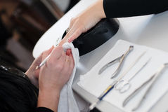 Beauty Nails Manicure Master at work. Stock Photo