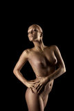 Beauty naked woman posing in metal skin statue Royalty Free Stock Photos