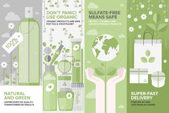 Beauty of natural cosmetics flat banner set. Flat banner set of natural cosmetics and herbal perfumery, organic beauty products, eco-friendly shopping elements Royalty Free Stock Image