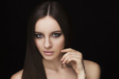 Beauty natural face model with makeup and hair style Royalty Free Stock Images