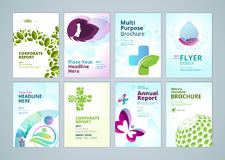 Beauty and natural  products brochure cover design and flyer layout templates collection Royalty Free Stock Images
