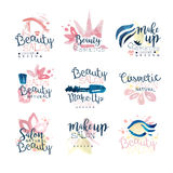 Beauty natural salon logo design, set of colorful hand drawn watercolor Illustrations. For healthcare, beauty center, spa and wellness, make up salon, shop stock illustration