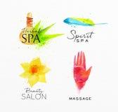 Beauty natural spa symbols herbal. Symbols beauty natural SPA drawing with watercolor, symbol herbal spa, flower, hand Stock Photo