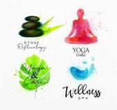 Beauty natural spa symbols stone. Symbols beauty natural SPA drawing with watercolor, symbol stone, leaf, yoga, water Stock Photos