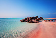 Beauty of Nature. Beautiful Elafonissi Beach with Pink Sand stock photos