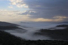 The Foggy Valley. Beauty of nature Stock Images