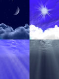 Beauty of nature, four views. Beauty of nature, 3d rendered in Photoshop Stock Photography