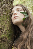 Beauty nature. Girl and tree, beauty nature Royalty Free Stock Photos