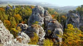 Beautiful Nature Geopark, Sandstone Rocks Fog Forest, Colorful Autumn Landscape royalty free stock images