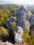 Beautiful Nature Geopark, Sandstone Rocks Fog Forest, Colorful Autumn Landscape royalty free stock photo