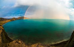 Beauty nature landscape Crimea with rainbow. Horizontal photo Stock Photos