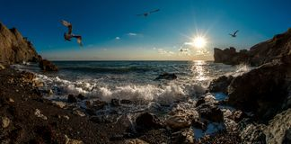 Beauty nature sea andscape Crimea. Beauty nature sea landscape Crimea, horizontal panorama photo. The waves washed upon the rocks stock photography