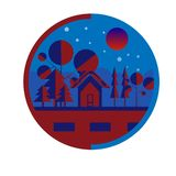 Beauty night with blood moon stock illustration