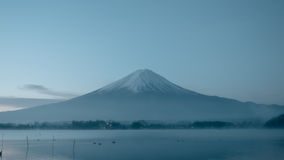 Beauty night landscape view from kawaguchi lake with sky and fuj Royalty Free Stock Photo