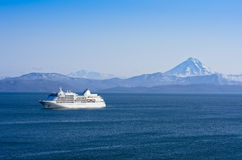 Beauty of the Northern Seas. Tourist ocean liner at anchor in the Avacha Bay, Kamchatka, Russia Stock Photo