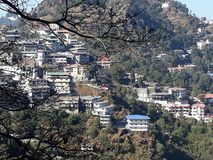 Beauty ofamazing view from the top the hill from main city of Manali royalty free stock photo