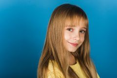 Free Beauty Or Kid Fashion With Cosmetics And Healthy Hair. Stylish Girl With Pretty Face. Little Girl With Long Hair Stock Image - 156650121