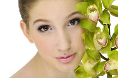 Beauty and orchid Stock Photo