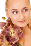 Beauty with orchids Stock Photo