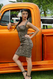 Beauty outside the truck. Picture of the beautiful pin up with old truck Stock Photo
