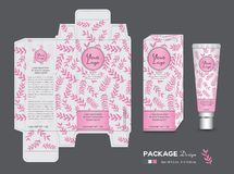 Beauty Packaging template, 3d Box cosmetics, product design, Package tag, healthy products, Cream layout, Fresh ecological, nature. Box, Body care, spa, lotion royalty free illustration