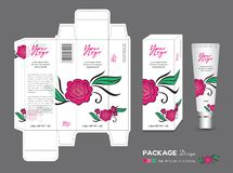 Beauty Packaging template, 3d Box cosmetics, product design, Rose Packaging, healthy products, Cream layout, cream, spa. Beauty Packaging template, 3d Box stock illustration