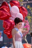 Beauty Pageant. Popularity contest, part of the beauty pageant, is determine by number of balloons given to contestants from fans. Pageant took place during the Royalty Free Stock Photography